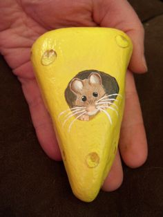 Adorable House Mouse in Swiss Cheese   Fun Stone Art Painting Acrylic     Paperweight OOAK