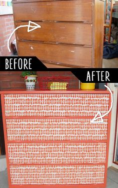 DIY Furniture Makeovers - Refurbished Furniture and Cool Painted Furniture Ideas for Thrift Store Furniture Makeover Projects | Coffee Tables, Dressers and Bedroom Decor, Kitchen |  Paper Sourced Cheap Chest |  http://diyjoy.com/diy-furniture-makeovers