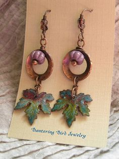 Purple and Green Maple Leaf Earrings with Enameled Dangles and Mauve Artisan Lampwork Glass Copper Jewelry