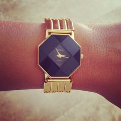 Vintage Gold Watch with Black Hexagon Face. Geneva Quartz Japan Movt. In Working Condition. One of A Kind.