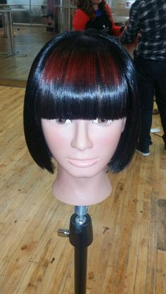 Hair By Lisa Royal Master Colorist Class in Toronto with Schwarzkopf Professional. I decided to do a black blunt Bob with a red shine line.