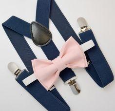 Bow Tie & Suspenders SET / Blush Pink Bow Tie / Navy Blue Suspenders / Kids Mens Baby Wedding Page Boy Set  6 months - to Adult Set