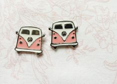Hippie bus earrings Pink Volkswagen Van VW Camper by MyFunnyThings, $12.90