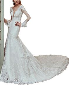 Dress Coming Deep V Neck Long Sleeve Lace Mermaid Wedding... https://www.amazon.com/dp/B073VC86ZK/ref=cm_sw_r_pi_dp_x_aqIAzbNB9RTCP