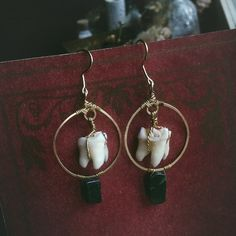 deer tooth earrings  witch earrings  hammered brass by gorimbaud