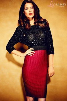 Textured High Waist Pencil Skirt and sparkly shirt for the holidays