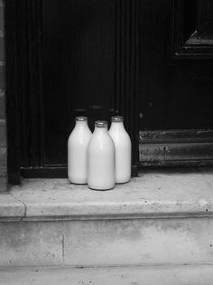 Remember when milk used to be delivered in glass bottles to your front door. | Black + White