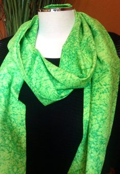 Infinity Scarf with green marbled cotton material. This light weight material allows it to be worn all year long. This color of green is just a