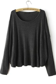 Black Round Neck Long Sleeve Loose Knit Sweater 33.00