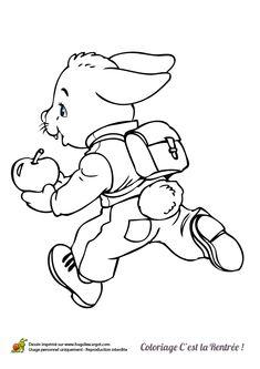 Petit lapin court avec son cartable sur le dos et une pomme entre les pattes, dessin à colorier