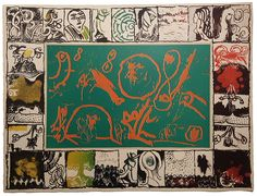 "Lithograph ""Magic Mirror"" by Pierre Alechinski"