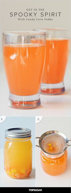 Let's face it — Halloween is the perfect time to embrace your kitschy side, and few things will get you in the seasonal spirit faster than throwing back a shot of this extremely easy-to-make candy corn vodka. Fall Dinner Recipes, Fall Recipes, Yummy Drinks, Healthy Drinks, Healthy Recipes, Halloween Drinks, Halloween Ideas, Halloween Party, Non Alcoholic Drinks