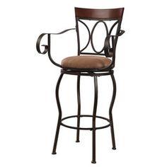 Dark Bronze Metal Bar Stool with Arm Rests