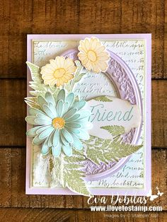 Daisy Lane Friend Card with Heirloom Frames Hi there, thanks for stopping by. Today I have a what I call a WOW card. I love layers and textures and this one has it all. Daisy, Stampin Up Catalog, Cards For Friends, Friend Cards, Friendship Cards, Stamping Up Cards, Pretty Cards, Sympathy Cards, Greeting Cards