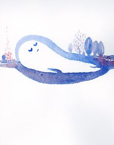 watercolor illustration  ぽよよんとねむる  #ukulele #love #peace #smile #rainbow #watercolor #illustration #illustrator #makotoosanai #aloha #hawaii #music #art #drow #okinawa #sea #sky #earth #tokyo #japan #river #object #child #sleep