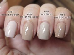 Essie Comparison: Topless Barefoot v. Brooch the Subject v. Sand Tropez