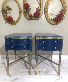 Sold Example of Gold End Tables Blue Nightstands Vintage   Etsy Hand Painted Dressers, Hand Painted Furniture, Funky Furniture, Vintage Furniture, Furniture Redo, Bedroom Furniture, Gold End Table, Blue Side Table, Pintura Patina