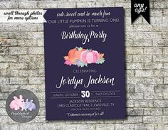 Pumpkin Birthday Invitation Fall Birthday by PurplelephantDesigns