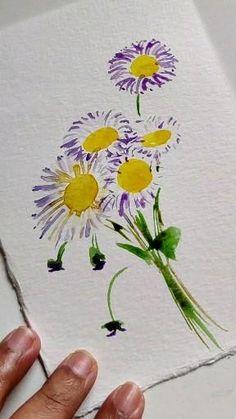 Watercolor Beginner, Watercolor Paintings For Beginners, Watercolor Art Lessons, Canvas Painting Tutorials, Easy Canvas Painting, Watercolour Tutorials, Floral Drawing, Art Drawings For Kids, Happy Paintings