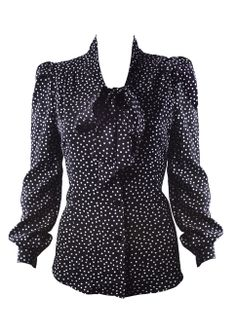 Pussy Bow Blouse - black spot Love it! Bow Blouse, Polka Dot Blouse, Black Blouse, Polka Dots, 1940s Fashion, Work Fashion, Vintage Fashion, Vintage Style, 1940s Tea Dress