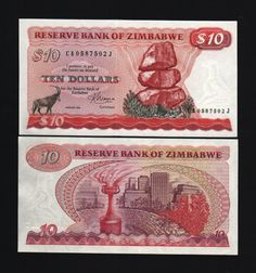 ZIMBABWE 10 Dollars P3d 1983 issue colourful UNC banknote,bearing the picture of sable antelope, mataphos rocks and view of Harare,freedom flame monument at back.