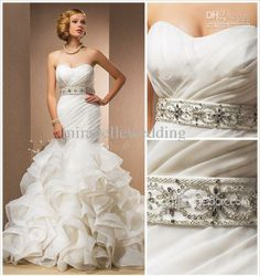 Wholesale Sweetheart - Buy Trumpet/Mermaid Sweetheart Chapel Train Wedding Dress With Removable Straps D21d, $97.91 | DHgate