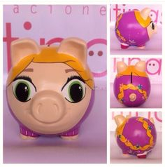 Pig Bank, Penny Bank, Personalized Piggy Bank, Pasta Flexible, Pebble Painting, Rapunzel, Diy And Crafts, Baby Shower, Pigs
