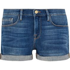 FRAME Le Cutoff denim shorts (330 AUD) ❤ liked on Polyvore featuring shorts, bottoms, cut-off denim shorts, cut-off jean shorts, frayed shorts, frayed denim shorts and blue shorts