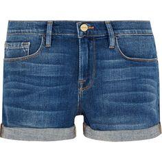 FRAME Le Cutoff denim shorts (795 BRL) ❤ liked on Polyvore featuring shorts, blue jean short shorts, blue shorts, jean shorts, pocket shorts and blue denim shorts