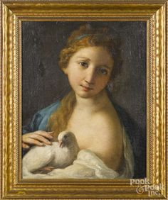 Continental oil on canvas portrait of a young woman with a dove, early 19th c