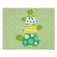Modern Turtle Frog Nursery Wall Print  $10.95  Click on photo to purchase. Check out all current coupon offers and save! http://www.zazzle.com/coupons?rf=238785193994622463&tc=pin