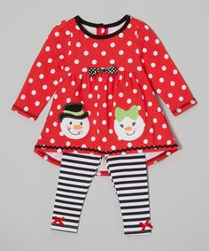 Look at this Red Dot Snowmen Hi-Low Tunic & Leggings - Infant & Girls on #zulily today!