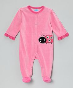 Another great find on #zulily! Pink Ladybug Velour Footie #zulilyfinds