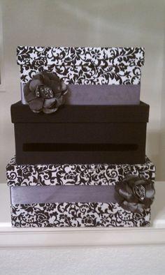 Ideas For Wedding Card Box Purple Receptions Money Box Wedding, Wedding Gift Boxes, Wedding Cards, Diy Card Box, Diy Box, Card Boxes, Blush Wedding Flowers, Damask Wedding, Trendy Wedding