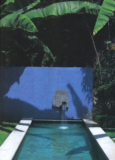 Blue and green poolside