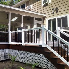 The Bellaire vinyl railing kit provides a unique, elegant look paired with superior strength and durability all at an affordable price. Fade resistant and built to last, the Bellaire is produced leveraging Front Porch Railings, Front Deck, Deck Railings, Vinyl Railing, Wood Railing, Railing Ideas, Pergola Ideas, Decking Ideas, Cable Railing