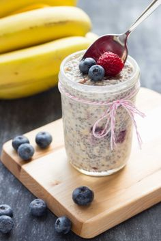 Overnight Chia Oatmeal with Fruit (I already make this, but now to add Chia to the mix...) oatmeal, chia, dried fruit, milk