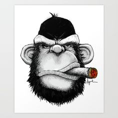 Buy Cigar Monkey Art Print by kagcaoili. Worldwide shipping available at Society6.com. Just one of millions of high quality products available.