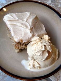 Spiced Applesauce Cake with Cinnamon Cream Cheese Frosting | A Hint of HoneyA Hint of Honey