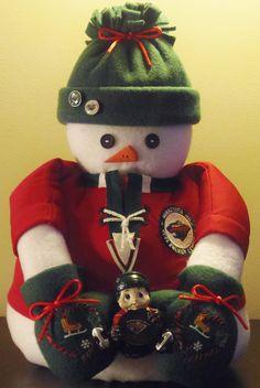 Minnesota Wild Hockey Fabric Snowman Decoration by MiniLuCreations, $35.00