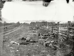 """September 1862. """"Antietam, Maryland. Confederate dead by a fence on the Hagerstown road."""""""