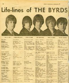 Life-lines of the Byrds from the New Musical Express