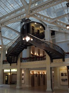 The Rookery at 209 S. LaSalle St. was designed by Burham and Root and completed in 1888.  Frank Lloyd Wright redesigned the lobby in 1905.