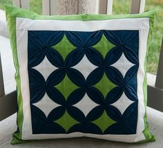 Pitter Putter Stitch: Finished Cathedral Windows Pillow - navy and lime and white!