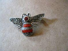 Vintage .925 Sterling Silver Red Carnelian Bubble Bee Pin Brooch. $30.00, via Etsy.