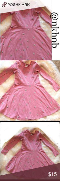 Girl's Skater Skirt Dress Pink with silver dots,  pull over, long sleeves, skater-skirt dress.  NWT H&M Dresses Casual