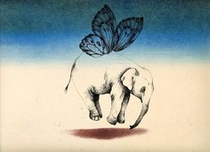 I love this elephant being carried by a butterfly print for a nursery.  Maybe above the crib? #black and #white #print