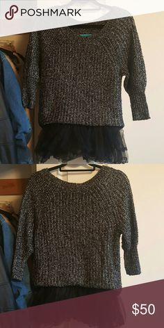 Alice and Oliva sleeve sweater with tulle Black and silver knit sweater with black tulle at the waist. Worn only a few times. Dry clean only. Girl Quotes, Alice Olivia, Username, Fashion Tips, Fashion Design, Fashion Trends, Off Shoulder Blouse, Tulle, Times