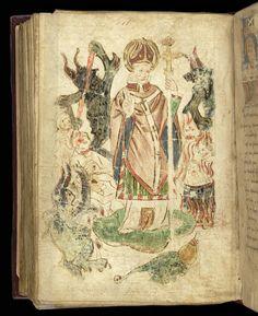 St Patrick standing on a snake in Purgatory: England, 1451 (London, British Library, MS Royal 17 B XLIII, f 132v)