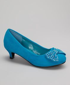 Love this QQ Girl Blue Studded Heart Kitten Heel by QQ Girl on #zulily! #zulilyfinds